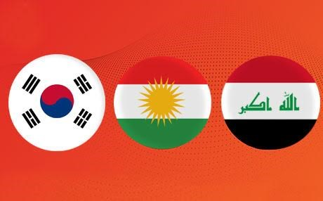 Composite image of the flags of South Korea, the Kurdistan Region, and Iraq. Photo: Rudaw/CC