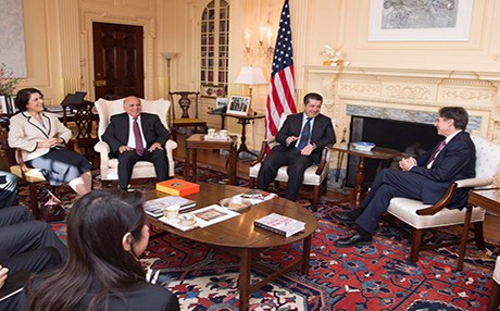 A Kurdish delegation including Representative Bayan Sami Abdul Rahman, Presidency Staff Chief Fuad Hussein, Chancellor Masrour Barzani meet with then US Deputy National Security Advisor Anthony Blinken in Washington, D.C., in December 2016. Photo: MB Twitter