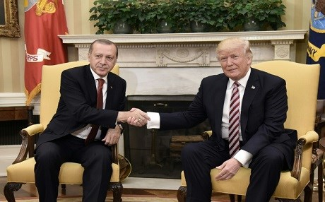 Turkish President Recep Tayyip Erdogan and US counterpart Donald Trump at the White House on May 16, 2017. Photo: AFP