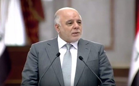 Prime Minister Haider al-Abadi speaks in his weekly press conference to reporters. Photo: Video grab
