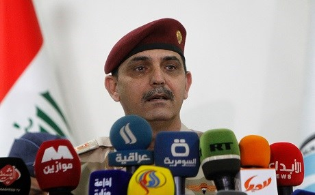 Iraqi army Brigadier General Yahya Rasool, spokesperson of the Iraqi Joint Operations Command, speaks during a press conference in Iraq's capital of Baghdad. Photo: AFP / Sabah Arar