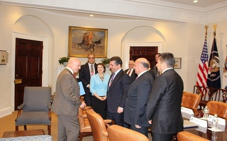 US National Security Advisor HR McMaster (left) meets with KRSC Chancellor Masrour Barzani (center), KRG Representative to the US Bayan Sami Abdul Rahman and Fuad Hussein, the chief of staff to the Kurdish president. Photo: KRG-US