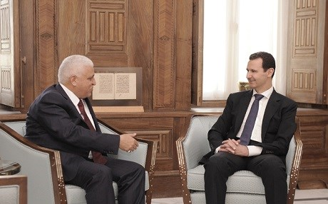 Syrian President Bashar al-Assad met with Iraq's National Security Advisor Falah al-Fayadh in Damascus. Photo: SANA news agency.