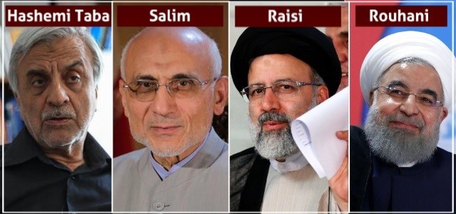 The people are choosing between Sayed Mostafa Hashemi Taba, Mostafa Mir Salim, Ebrahim Raisi, and the incumbent Hassan Rouhani in Iran's twelfth presidential election on May 18, 2017. Composite photo: AFP/YJC