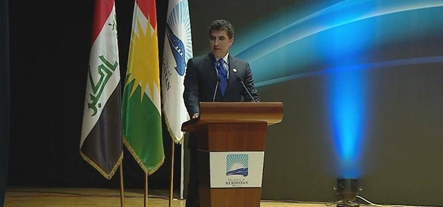 PM Nechirvan Barzani speaks to an international conference in Erbil on May 24, 2017 titiled Iraqi Kurdistan at a Crossroads: Current Issues of Domestic and Middle Eastern Politics. Photo: Rudaw video