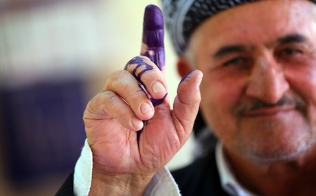 A Kurdish man after casting his vote in September 2013 elections. Photo: Rudaw