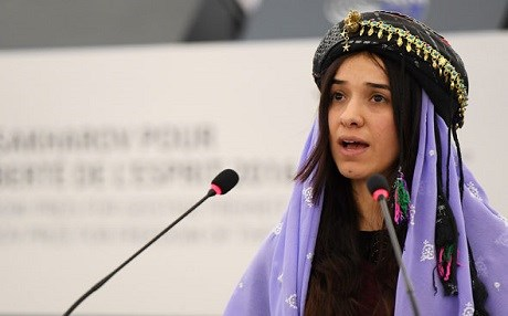 Nadia Murad, a Yezidi woman from Kocho, speaks at the European Parliament after receiving the Sakharov Prize for Freedom of Thought on December 13, 2016. Photo: EU