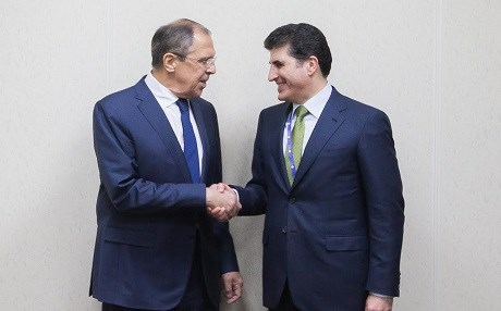 Russian Foreign Minister Sergey Lavrov [R] and Prime Minister Nechirvan Barzani met  on the sidelines of the St. Petersburg International Economic Forum in 2016. Photo: KRG media office