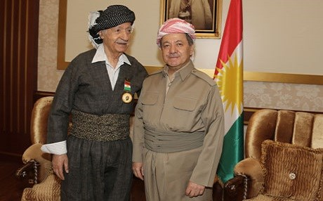 Aziz Mohammed, former Iraqi Communist Party leader, and Masoud Barzani, president of the Kurdistan Region. Photo: Official