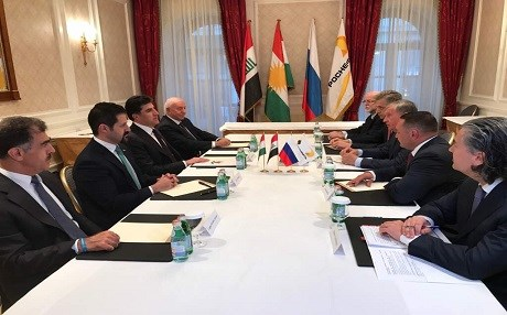 Kurdish delegation headed by Prime Minister Nechirvan Barzani [L] meets with the management board of the Russian oil giant Rosneft, including Chief Executive Officer Igor Schein. Photo: KRG media office