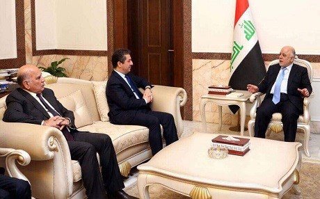 From left, Kurdistan Presidency Chief of Staff Fuad Hussein and Kurdistan Region Security Chancellor Masrour Barzani meet with Iraqi Prime Minister Haider al-Abadi. Photo: Masrour Barzani/Twitter