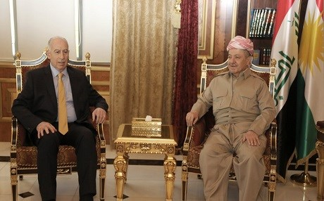 Osama al-Nujaifi, Iraqi Vice President and head of the newly-founded United for Iraq Sunni party [L] and Kurdish president Masoud Barzani discuss the future of Iraq on June 5, 2017 in Erbil. photo: Kurdistan Region Presidency media office