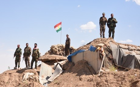 A Kurdish Peshmerga outpost sits just kilometers north of the Yezidi village of Kocho. Photo: Rudaw