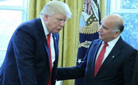 Fuad Hussein, the chief of staff to the Kurdish presidency, meets with US President Donald J. Trump at the White House on March 21. Photo: KRG-US