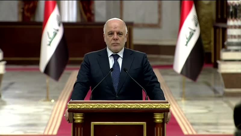 Haider al-Abadi, the Prime Minister of Iraq, delivers his weekly address. Photo: Rudaw TV