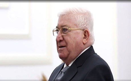 Iraqi President Fuad Masum speaks to Rudaw from the Salam presidential palace in Baghdad. Photo: Rudaw TV