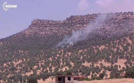 Rudaw file photo shows Turkish bombardment against the positions of the Kurdistan Workers' Party (PKK) in the border areas.