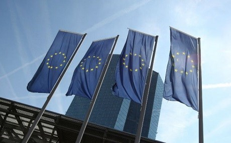 European Union flags in Frankfurt, Germany. Photo: Daniel Roland/AFP