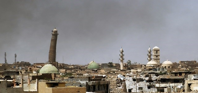 This photo dated May 24, 2017 shows the leaning Al-Hadba Minaret and Al-Nuri Mosque in western Mosul. Photo: AFP