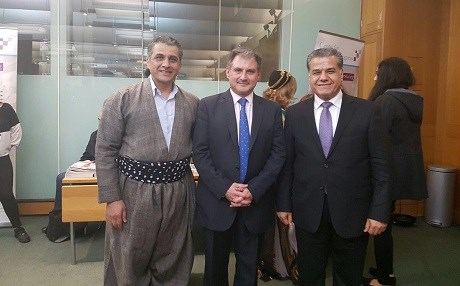 Jack Lopresti, centre, flanked by KRG's UK representative Karwan Jamal Tahir and the KRG's head of foreign relations Falah Mustafa, in March 2017 when he received an award from the Centre for Kurdish Progress. He was elected chairman of the UK's all-party parliamentary group on Kurdistan on Monday. Photo: Jack Lopresti/Twitter