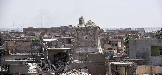 File photo shows Mosul's destroyed ancient leaning minaret, known as the