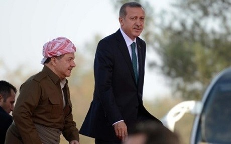 Kurdistan President Masoud Barzani (L) and Turkish President Recep Tayyip Erdogan. Photo: AA