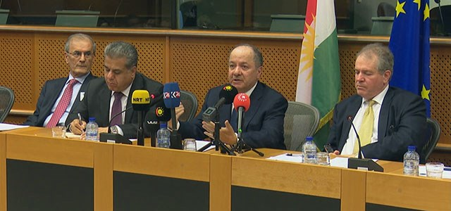 Kurdish President Masoud Barzani [second from right] addresses some members of the European Parliament on July 11, 2017 in Brussels regarding Erbil's referendum on independence set to take place on September 25. Photo: Rudaw video