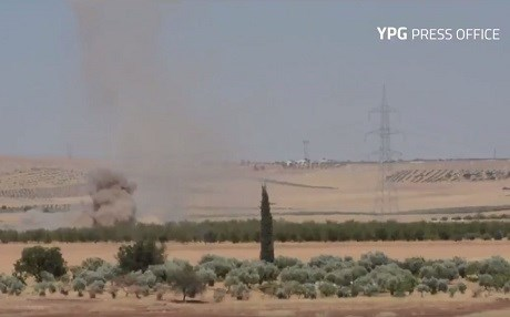 Turkish shelling of the Afrin countryside. Photo: YPG press office video