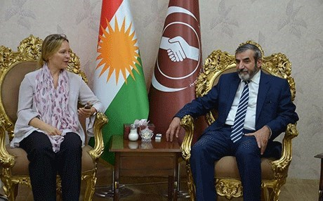 Salahadin Bahadin [R], leader of the Kurdistan Islamic Union, met with head of the EU's Erbil Liaison Office Clarisse Pasztory. Photo: KIU