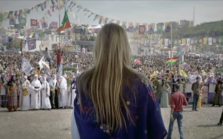 Leyla Imret speaks at a political rally in Kurdish areas of Turkey. Photo: Dil Leyla trailer