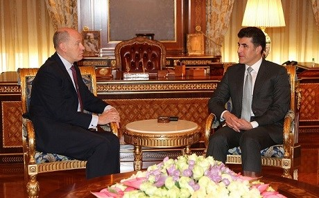 Prime Minister Nechirvan Barzani, right, welcomed the new UK consul to Erbil, Martyn Warr, left. Photo: KRG