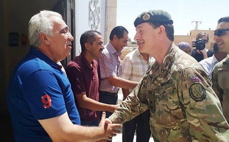 British Army Major General Rupert Jones, the Deputy Commander-Strategy and Support for Combined Joint Task Force – Operation Inherent Resolve, visits Ain Issa on Sunday, July 23. Photo: SDF Press