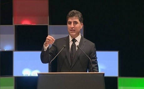 Prime Minister of the Kurdistan Regional Government (KRG) Nechirvan Barzani speaks at a ceremony held to commemorate the third anniversary of the ISIS invasion of Shingal. Photo from Rudaw video