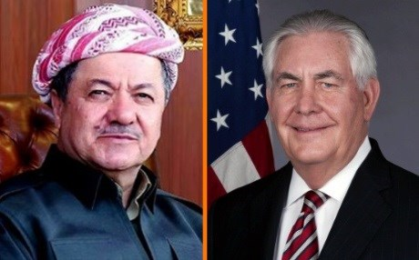 Masoud Barzani, the Kurdish president, and Rex Tillerson, the Secretary of State of the United States. Composite photo: KRP/US State