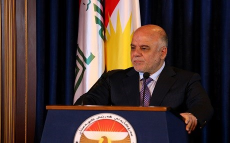 Iraqi Prime Minister Haider al-Abadi addresses reporters in a joint press conference in the capital of Kurdistan Region, Erbil, in June 2015. File photo:Rudaw