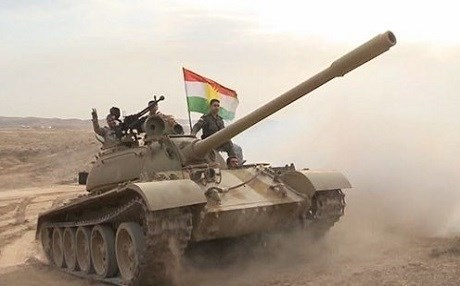 A Peshmerga tank in action against ISIS in Kirkuk region. Photo: Rudaw/file