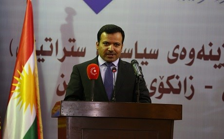 This file photo shows Kurdistan parliament speaker Yousif Mohammed addresses a conference in Erbil in August 2015. Photo: Rudaw/Farzin Hassan