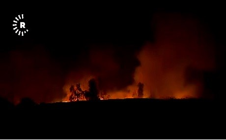 An explosion at a location where weapons captured from ISIS was stored by the Kurdish Zeravani force caused a big fire on August 26, 2017. Photo: Rudaw TV