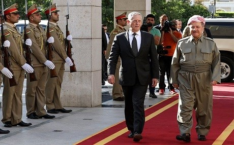 US Defense Secretary James Mattis and Kurdistan President Masoud in Erbil on August 22. Photo: Rudaw