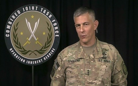 US Lt. General Stephen Townsend speaks from Baghdad via teleconference to Pentagon reporters on August 31. Photo: US DoD