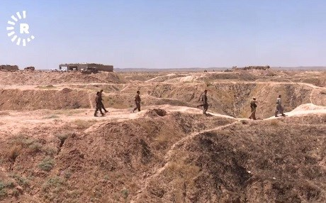 Peshmerga patrol one of their five fronts north and east of Hawija. Photo: Rudaw video