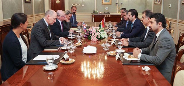 Deputy Prime Minister Qubad Talabani met with Burt Alistair, Minister of State for the Department for International Development and Minister of State for the Foreign and Commonwealth Office, in Erbil on Monday. Photo: Official