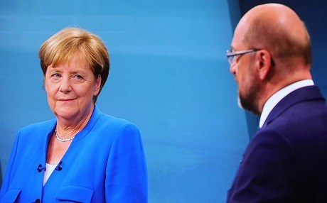 Incumbent Angela Merkel of the CDU and Martin Schulz of the SPD debate ahead of the elections that will decide the next German chancellorship. Photo: AP