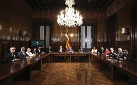 Members of the Catalan government including Carles Puigdemont (center) meet in Barcelona on September 6. Photo: Ruben Moreno Garcia | AFP/Generalitat de Catalunia