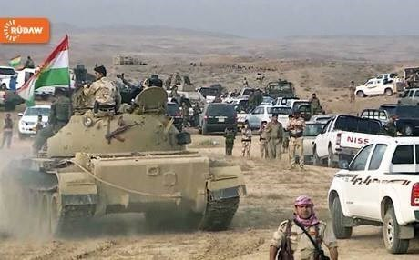 File photo of Peshmerga forces positioned in south Kirkuk during clashes with ISIS militants.