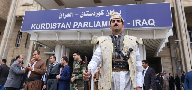 A guard stands in front of the Kurdistan Region's parliament building in the capital of Erbil. The body has not sat since 2015. Photo: Rudaw