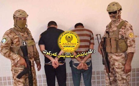 Two suspected ISIS militants were arrested in Daquq, Kirkuk province. Photo: Kirkuk Asayesh