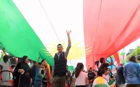 File photo of a rally in support of the Kurdish independence vote in Germany's Cologne in August 2017. Photo: Rudaw video