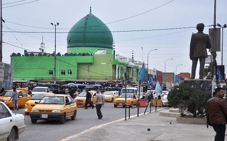 Kirkuk downtown where a number of Turkmen flag are displayed. Photo: Rudaw