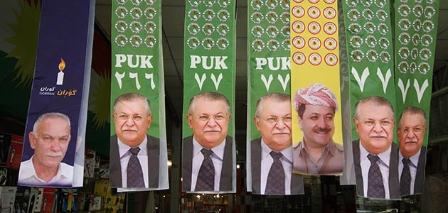 Banners for the general elections in 2014 with the portraits of the heads of the three major parties in the Kurdistan Region: KDP, Gorran and PUK, the three largest parties, respectively. File photo: Rudaw/Sartip Othman